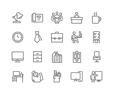 Simple Set of Office Related Vector Line Icons. Contains such Icons as Business Meeting, Workplace, Office Building, Reception Desk and more. Editable Stroke. 48x48 Pixel Perfect.