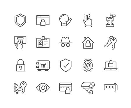 Semplice insieme di vettori di sicurezza relativa linea di icone. Contiene icone come Finger Print, chiave elettronica, Spy, password, allarmi e altro ancora. Stroke modificabile. 48x48 Pixel Perfect. Archivio Fotografico - 59219676