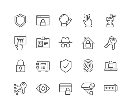 Simple Set of Security Related Vector Line Icons. Contains such Icons as Finger Print, Electronic key, Spy, Password, Alarm and more. Editable Stroke. 48x48 Pixel Perfect. Vectores