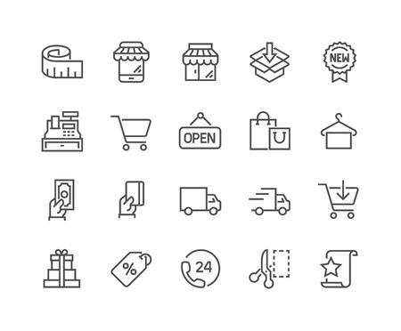 Simples de la línea vector de compras iconos relacionados. Contiene iconos tales como Mobile Shop, opciones de pago, Guía de tamaños, Destacados, entrega y mucho más. Stroke editable. 48x48 Pixel Perfect.