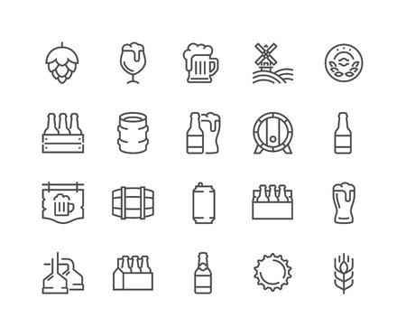 Jeu simple d'icônes de lignes vectorielles associées à la bière. Contient des icônes telles que Barrel, Six-Pack, Keg, Signboard, Mug et plus encore. Course modifiable. 48x48 Pixel Perfect.