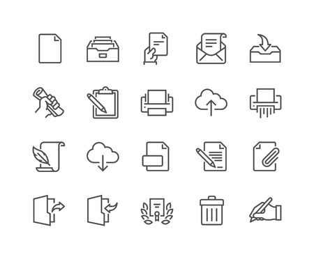 48x48: Simple Set of Document Related Vector Line Icons. Contains such Icons as Printer, Shredder, Legal Document, Archive, Handwriting and more. Editable Stroke. 48x48 Pixel Perfect.