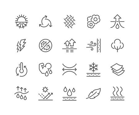 Einfache Set von Fabric Feature-Related Vector Linie Icons. Enthält solche Symbole wie wasserdicht, Schichtstruktur, atmungsaktive Faser, UV-Schutz und mehr. Editierbare Stroke. 48x48 Pixel Perfect.
