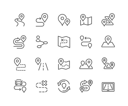 48x48: Simple Set of Route Related Vector Line Icons. Contains such Icons as Map with a Pin, Route map, Navigator, Direction and more. Editable Stroke. 48x48 Pixel Perfect.