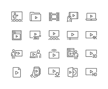 48x48: Simple Set of Video Related Vector Line Icons. Contains such Icons as Video Tape, Presentation, Streaming, Cinema Hall and more. Editable Stroke. 48x48 Pixel Perfect.