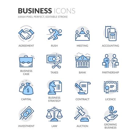비즈니스 관련 색상 벡터 라인 아이콘의 간단한 설정합니다. 악수, 비즈니스 회의, 법률, 라이선스 등과 같은 아이콘이 포함되어 있습니다. 편집 가능