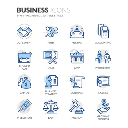 Simple Set of Business Related Color Vector Line Icons. Contains such Icons as Handshake, Business Meeting, Law, Licence and more. Editable Stroke. 64x64 Pixel Perfect. Illustration