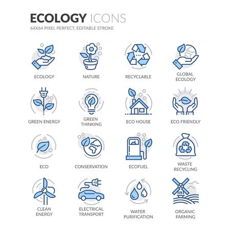 Eenvoudige set van ecologie Related Color Line Vector Icons. Bevat zoals iconen als recycleerbaar, Eco House, het groene denken en nog veel meer. Bewerkbare Stroke. 64x64 Pixel Perfect. Stock Illustratie