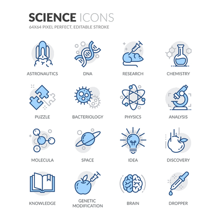 Simple Set of Science Related Color Vector Line Icons. Contains such Icons as DNA, Analysis, Research, Genetic Modification and more. Editable Stroke. 64x64 Pixel Perfect. Фото со стока - 59219760