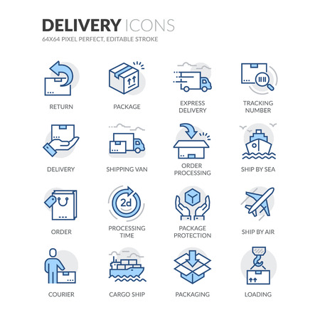 Simple Set of Delivery Related Color Vector Line Icons. Contains such Icons as Loading, Express Delivery, Tracking Number Search, Cargo Ship and more. Editable Stroke. 64x64 Pixel Perfect.
