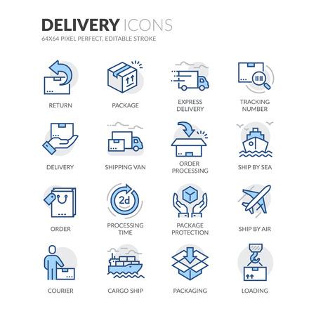 Set simple de livraison connexes couleur vecteur ligne icônes. Contient des icônes telles que chargement, livraison Express, numéro de suivi Recherche, Cargo et plus encore. Stroke éditable. 64x64 Pixel Perfect.