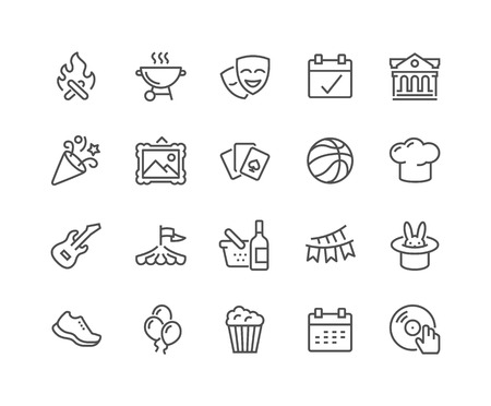 Simple Set of Event Related Vector Line Icons. Contains such Icons as Bonfire, Guitar, Popcorn, Party, Festival and more. Editable Stroke. 48x48 Pixel Perfect.