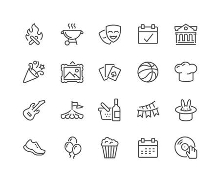Simples de la línea vector evento relacionado con iconos. Contiene iconos como Bonfire, Guitarra, palomitas de maíz, Fiesta, Fiesta y más. Stroke editable. 48x48 Pixel Perfect.