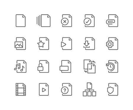 48x48: Simple Set of File Related Vector Line Icons. Contains such Icons as Download, Video File, Sync, Settings and more. Editable Stroke. 48x48 Pixel Perfect.