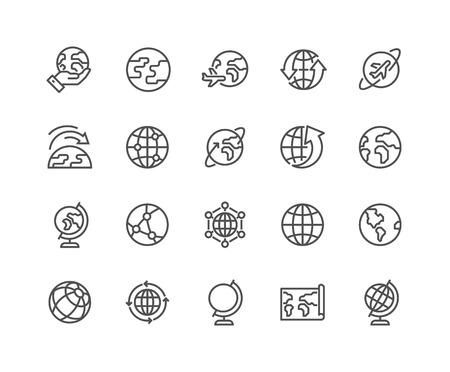 Eenvoudige reeks Globe gerelateerde Vector lijn iconen. Bevat pictogrammen zoals Wereldkaart, Verbindingen, Wereldwijd Zakelijk, Reizen en meer. Bewerkbare lijn. 48x48 Pixel Perfect. Stock Illustratie