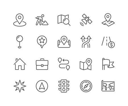 Prosty zestaw ikon linii wektorowej związanych z nawigacją. Zawiera takie ikony, jak mapa świata, lokalizacja biura, sygnalizacja świetlna, kompasy i inne. Edytowalny skok. 48x48 pikseli Perfect.