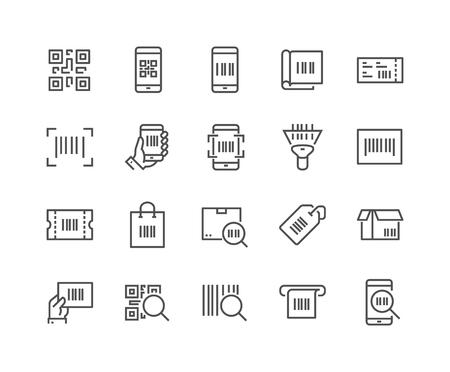 Ensemble simple d'icônes de lignes vectorielles associées au code QR. Contient des icônes comme Scanner, Code de paquetage, Ticket, code à barres et plus encore. Course modifiable. 48x48 Pixel Perfect. Banque d'images - 59219765