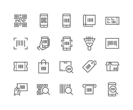 Simple Set of QR Code Related Vector Line Icons. Contains such Icons as Scanner, Package Code, Ticket, Barcode and more. Editable Stroke. 48x48 Pixel Perfect. Vectores