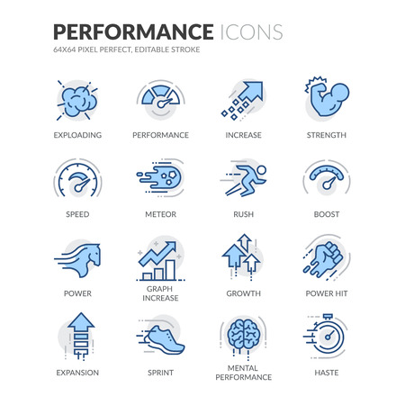 Simple Set of Performance Related Color Vector Line Icons. Contains such Icons as Expansion, Power, Haste, Speed, Growth and more. Editable Stroke. 64x64 Pixel Perfect.