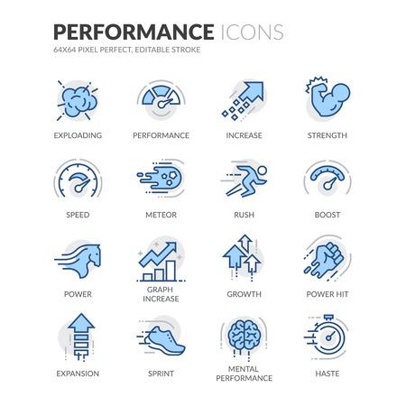 Set simple de performance connexes couleur vecteur ligne icônes. Contient des icônes telles que Expansion, Power, Haste, Vitesse, croissance et plus. Stroke éditable. 64x64 Pixel Perfect.