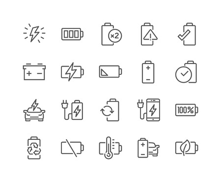 48x48: Simple Set of Batteries Related Line Icons. Contains such Icons as Car Charge Station, Recycle, Phone Charging, Battery Life Time and more. Editable Stroke. 48x48 Pixel Perfect. Illustration