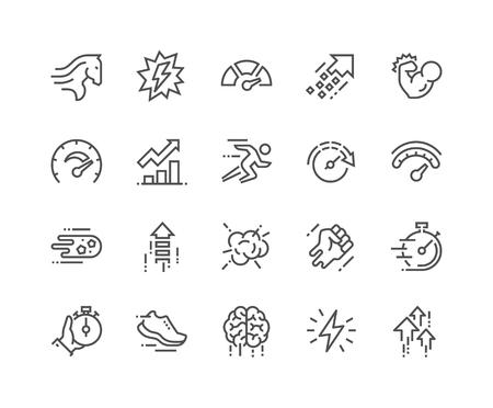 Prosty zestaw ikon linii powiązanych z wydajnością. Zawiera takie ikony, jak moc, prędkość, wykres, sprint, doładowanie, mózg, wzmocnienie i inne. Edytowalny skok. 48x48 pikseli Perfect.