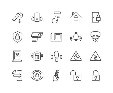 Simples de la línea relacionados con el hogar Iconos de la seguridad. Contiene iconos como la manija de puertas, cerraduras, Cam, circuito cerrado de televisión, a distancia y mucho más. Stroke editable. 48x48 Pixel Perfect. Ilustración de vector