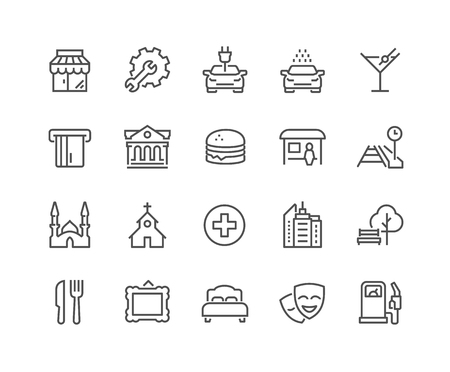 places of interest: Simple Points of Interest Related Line Icons. Contains such Icons as Food, Park, Museum, Hotel, Hostel, Bus Stop, Railway Station and more. Editable Stroke. 48x48 Pixel Perfect.