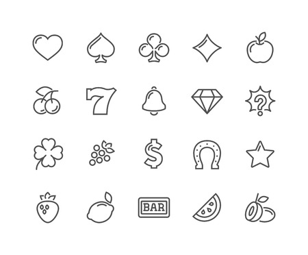 48x48: Simple Set of Slot Machine  Line Icons. Contains such Icons as Four-Leaf, Diamond, Fruits and more. Editable Stroke. 48x48 Pixel Perfect.