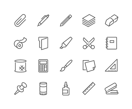 48x48: Simple Set of Stationery Related Line Icons. Contains such Icons as Duct Tape, Paper, Eraser, Pen, Pencil and more. Editable Stroke. 48x48 Pixel Perfect.