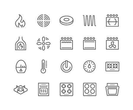 Simple Set of Stove Related Line Icons. Contains such Icons as Timer, Heat, Gas, Induction, Electrical Stove and more. Editable Stroke. 48x48 Pixel Perfect. Иллюстрация
