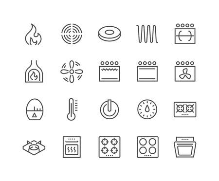 Simples de la estufa de la línea de iconos relacionados. Contiene iconos como temporizador, calefacción, gas, inducción, horno eléctrico y mucho más. Stroke editable. 48x48 Pixel Perfect.