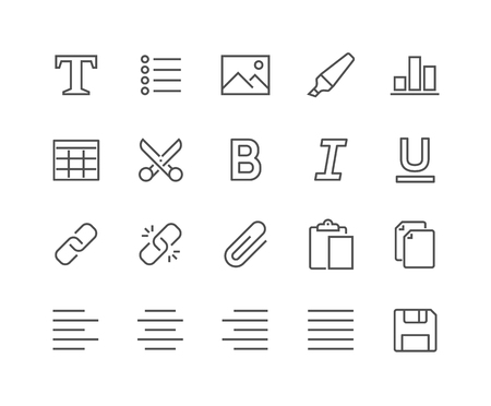 48x48: Simple Set of Text Editing Related Line Icons. Contains such Icons as Copy, Paste, Insert Image, Marker and more. Editable Stroke. 48x48 Pixel Perfect.