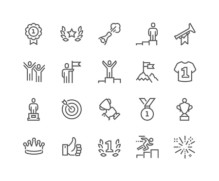 Simple Set of Winning Related Line Icons. Contains such Icons as Laurel Branch, Like, Reward, Achievement and more. Editable Stroke. 48x48 Pixel Perfect.