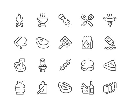 Simple Set of Barbecue Related Line Icons. Contains such Icons as Steak, Ribs, Bonfire, Gas and more. Editable Stroke. 48x48 Pixel Perfect. Vettoriali