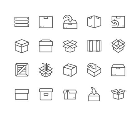 48x48: Simple Set of Box Related Line Icons. Contains such Icons as Open Box, Package Return, Wooden Crate and more. Editable Stroke. 48x48 Pixel Perfect. Illustration