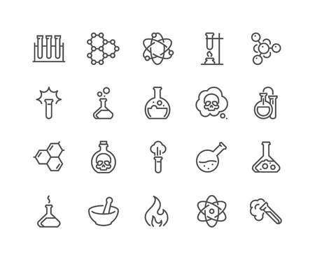 48x48: Simple Set of Chemical Related Line Icons. Contains such Icons as Atom, Flask, Experiment, Research, Laboratory and more. Editable Stroke. 48x48 Pixel Perfect.