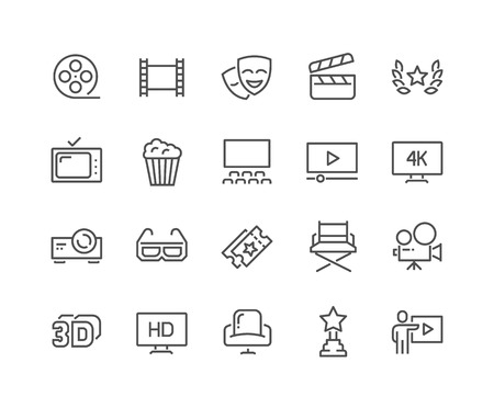 48x48: Simple Set of Cinema Related Line Icons. Contains such Icons as Movie Theater, TV, Popcorn, Video Clip and more. Editable Stroke. 48x48 Pixel Perfect. Illustration
