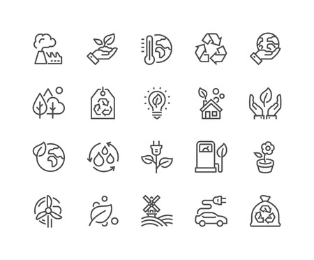 Simple Set of Eco Related Line Icons. Contains such Icons as Electro Car, Global Warming, Forest, Organic Farming and more. Editable Stroke. 48x48 Pixel Perfect.