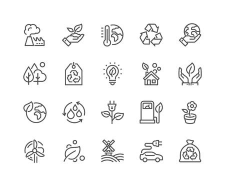Set simple d'Eco connexes Ligne Icons. Contient des icônes telles que Electro Car, Réchauffement de la planète, la forêt, l'agriculture biologique et plus encore. Stroke éditable. 48x48 Pixel Perfect. Banque d'images - 60231356