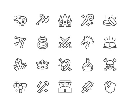 48x48: Simple Set of Fantasy Related Line Icons. Contains such Icons as Dragon, Magic Stuff, Fireball, Golden Coins and more. Editable Stroke. 48x48 Pixel Perfect.