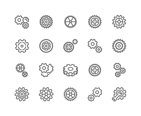 48x48: Simple Set of Gear Related Line Icons. Contains such Icons as Settings, Transmission, Gearwheel and more. Editable Stroke. 48x48 Pixel Perfect.