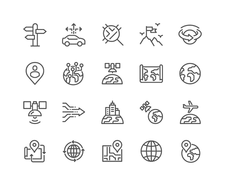 48x48: Simple Set of Global Navigation Related Line Icons. Contains such Icons as World Map, Branch Office, Business trip and more. Editable Stroke. 48x48 Pixel Perfect.