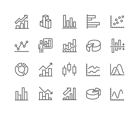 48x48: Simple Set of Graph Related Line Icons. Contains such Icons as Pie Chart, Graphic, Statistics, Column Chart and more. Editable Stroke. 48x48 Pixel Perfect. Illustration