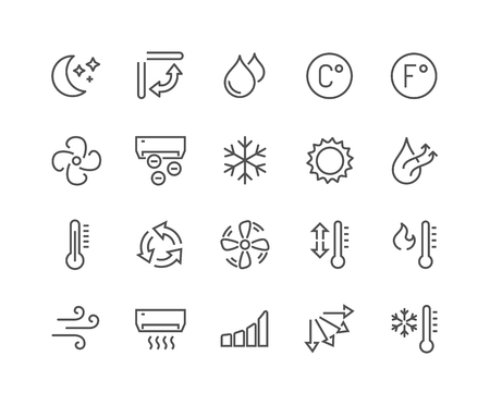 Simple Set of Air Conditioning Related Line Icons. Contains such Icons as Cool, Humidity, Airing, Ionisation and more. Editable Stroke. 48x48 Pixel Perfect. Vettoriali