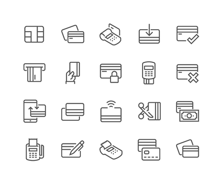 48x48: Simple Set of Credit Card Related Line Icons. Contains such Icons as Chip, Register, Safe Payment, Cash, Sync and more. Editable Stroke. 48x48 Pixel Perfect.
