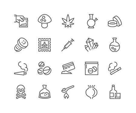 Prosty zestaw leków pokrewnych Linia Ikon. Zawiera takie ikony jak marihuana, kokaina, heroina, LSD, ecstasy i innych. Edytowalne Stroke. 48x48 pikseli Idealny. Ilustracje wektorowe