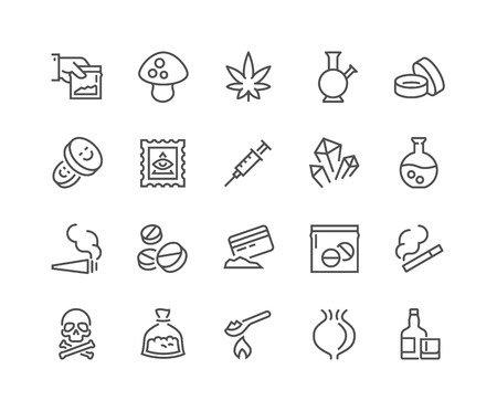 Simple Set of Drugs Related Line Icons. Contains such Icons as Marijuana, Cocaine, Heroin, LSD, Ecstasy and more. Editable Stroke. 48x48 Pixel Perfect. Illustration
