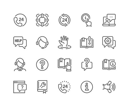 Simple Set of Help and Support Related Line Icons. Contains such Icons as Phone Assistant, Online Help, Video Chat and more. Editable Stroke. 48x48 Pixel Perfect.