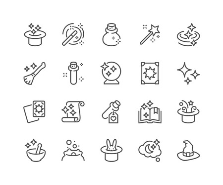 enchant: Simple Set of Magic Related Line Icons. Contains such Icons as Magic Hat, Wand, Spell Book, Effect and more. Editable Stroke. 48x48 Pixel Perfect.